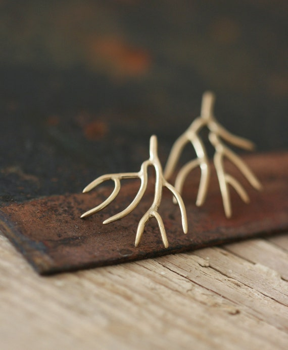 RESERVED - Twigs - 9ct Gold Studs