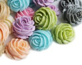 30pc you choose whipped frosting rose 22mm resin flower cabochons, 10 colors, great for making hairpins, rings, pendants