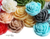 40pc shiny garden rose resin flower cabochons / 24mm, 9 colors / make diy rings, pendants, earrings