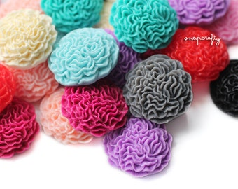10pc ruffled resin flower cabochons / large resin flower cab embellishments / flat back ruffled blooms / dreamy pastels and berry hues