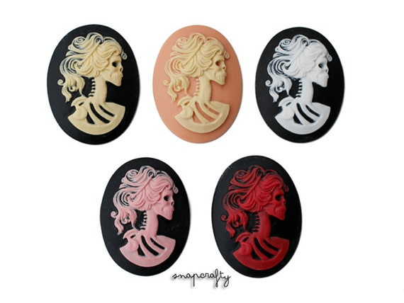 2pc 40x30mm lolita skeleton cameos, choose your colors to create beautiful pendants