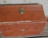 Vintage TOTE BOX CASE, vinyl, wood, brass, handle, shabby chic, scuffy patina