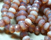 Czech Light Rose Opal with Copper 6x4mm Faceted Fire Polished Glass Rondelle Beads (25)