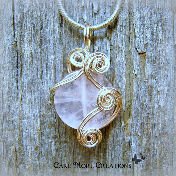 Rose Quartz Wire Wrapped Pendant -  Pink Necklace in Silver Wire