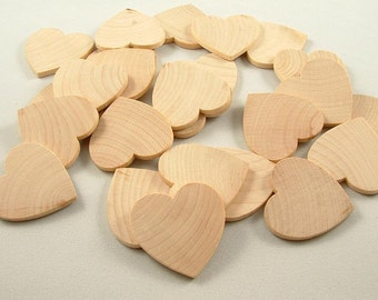 100 Unfinished Wooden Hearts - 1 1/2 inch - Wedding GuestBook - Wedding Favors - Wooden Hearts for DIY