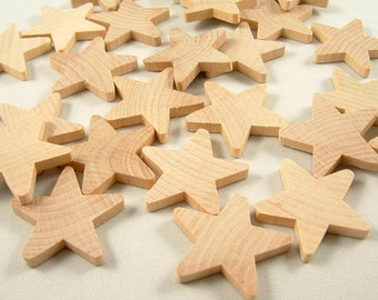 25 Wood Stars, Rustic Wood Star - Holiday Star -  1.5 inch x 3/16 inch Unfinished Wooden Stars for DIY