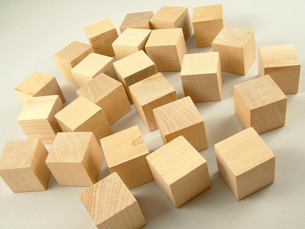 25 wood blocks square 1 inch unfinished wooden blocks for. Black Bedroom Furniture Sets. Home Design Ideas