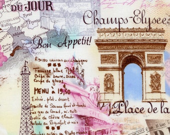 PARIS PASTEL Springtime in Paris France French Collage Cotton Quilt Fabric - by the Half Yard or Fat Quarter