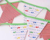 Fabric bunting, flag garland handmade from vintage fabric