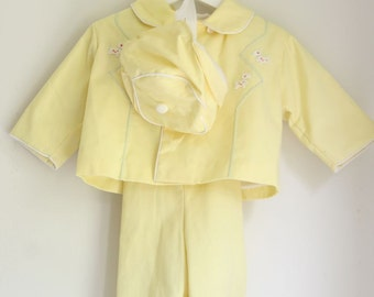 Vintage girl's suit pastel yellow with hat 18 to 24 months