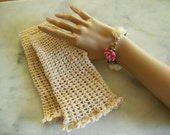 Bridal Mitts Gloves in Natural Color Cotton  Custom Colors Available Photo Prop Wedding Prom Special Event
