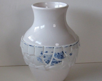Vintage Broken China Ceramic Shards Vase, Pretty Blue and White Floral Pattern Tea Cups