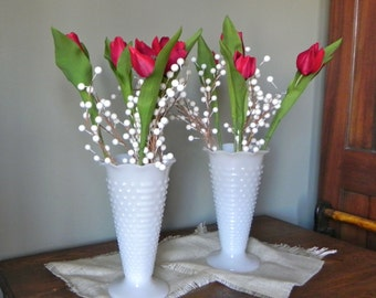 Vintage pair milk glass vases footed hobnail and Jacobs ladder Anchor Hocking