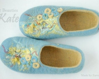 Felted slippers KATE in blue & yellow Custom made colors any sizes