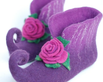 Fairy shoes felted home slippers in violet and purple  with rose can be made in custom colors HANDMADE TO ORDER