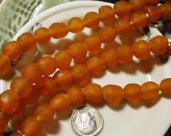 Orange Recycled Glass Beads - Ghana Africa - 8 pcs - RCY1233
