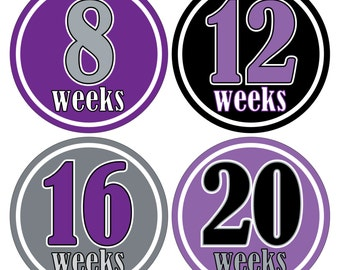 12 Weekly Pregnancy Mama-to-be Maternity Waterproof Glossy Stickers  - Monthly stickers available - Design W012-02