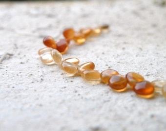 Hessonite Garnet Gemstone Briolette AAA Rust Orange Smooth Heart 4.5mm 1/2 Strand 30 beads