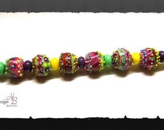 22 Beads Kandy-Mandy Neon, Beadset, SRA B131,colorful beads set, Lampwork, Murano