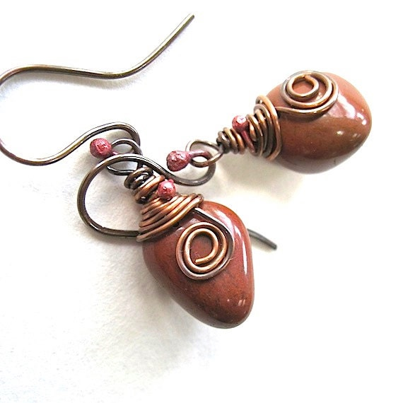 Mystery Stone Earrings Chunky Boho Dangles Copper Wire Wrapped