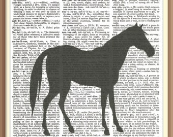 Horse Silhouette--Vintage Dictionary Art Print---Fits 8x10 Mat or Frame
