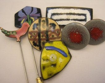 Vintage Enamel Modernist Jewelry - Brooches, Stick Pins Earrings