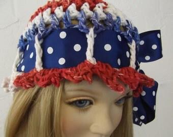4th of July hat, OOAK Crochet Hat,Red, White,Blue,Accessory,Children,Cotton Hat,Summer Hat