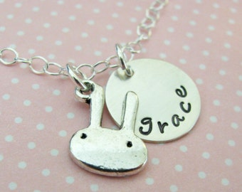 bunny necklace with custom name charm