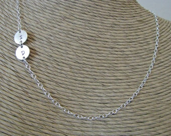 asymmetrical sterling double initial necklace