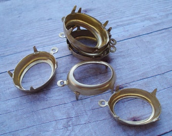 Brass 18x13mm Oval Open Back 1 Ring/Loop 4 Prong Settings for Cabs or Jewels (6pcs)