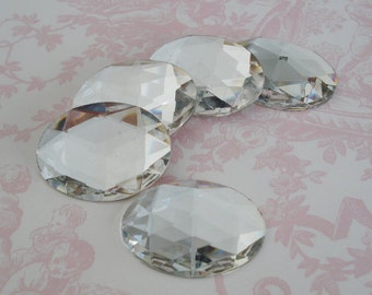 1 Vintage 30x40mm Clear Crystal Oval Rose Cut Gold Foiled Flat Back Cab or Jewel