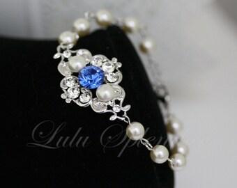 Ivory pearl bracelet, Sapphire Blue Bridal Bracelet Swarovski Pearl and crystals, Vintage style Bracelet, Wedding Jewelry LEILA
