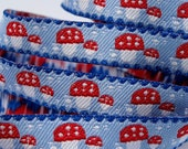 Czech Republic Woven Mushroom Trim Jacquard 12mm Wide 2 Yards Blue