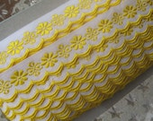 Czech Republic Woven Yellow Embroidered Floral Cotton Trim 20mm 2 Yards  Folk Costume Trim