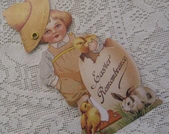 Vintage Easter Card Mechanical Made In USA Little Boy & Egg  CD 133