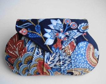 Navy Floral Clutch, Wedding Bag, Bridesmaid Purse, Pleated Clutch