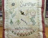 Summer Sampler-Primitive Stitchery E-PATTERN-by Primitive Stitches-Instant Download