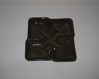 Vintage McCoy Mid Century Square Sectioned Ashtray Blended Brown & Green