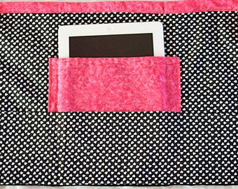 Vendor Teacher iPad Art Craft Half Apron Black White Heart Fuschia Hot Pink Fabric (4 Pockets)