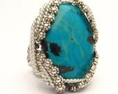 Handmade Sterling Silver Berry Wire Wrap Turquoise Ring