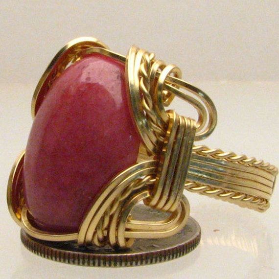 Handmade Solid 14kt Gold Wire Wrap Red Sodalite Gemstone Ring
