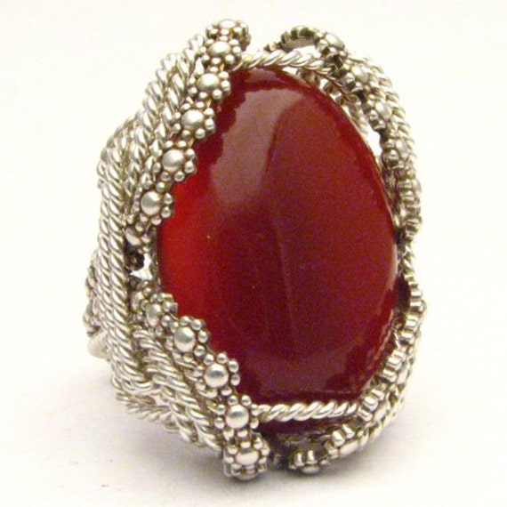 Handmade Sterling Silver Berry Wire Wrap Red Carnelian Cabochon Ring