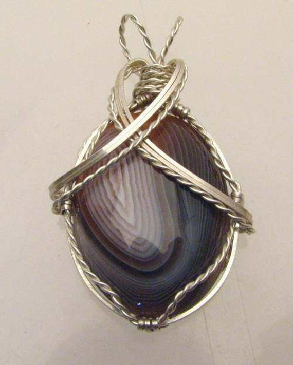 Handmade Sterling Silver Wire Wrap Botswana Agate Pendant