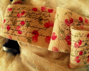 Cherries Galore - Hand Stamped French Inspired Trim