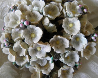 COLLECTORS EDITION - Flocked Vintage Millinery Flowers Forget Me Nots  - Tags printed Occupied Japan - Between 58 & 71 years old