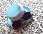Alice in Wonderland Mini Top Hat-Mad Hatter-Tea Party Hat-Costume-Birthday Party Hats-Mini Top Hat Fascinator-Blue Mini Top Hat-Onederland-P