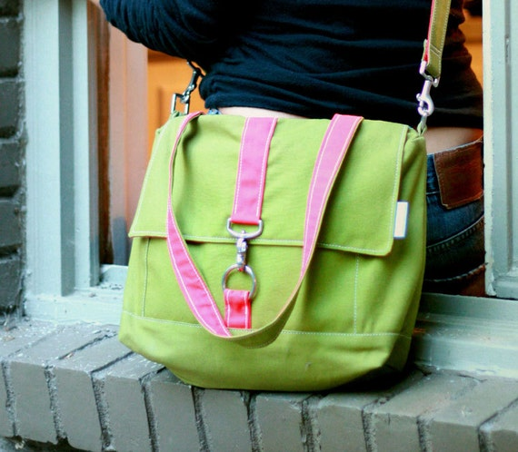 Canvas Tote in Green and Pink - SALE