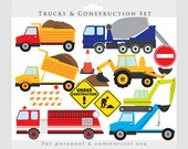 Trucks clipart - construction clip art, backhoe, excavator, fire engine, fire truck, vehicles, dump truck, transportation, for boys