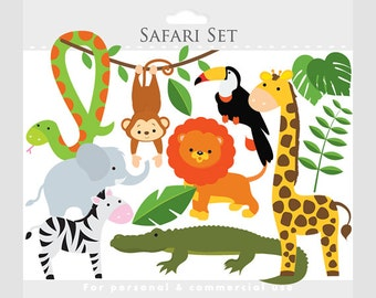 Safari clipart - safari animals, lion, monkey, giraffe, zebra, elephant, crocodile, leaves, jungle animals, jungle leaves, snake, toucan