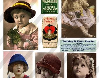 Digital Collage Sheet Vintage Girl Images Postcard Images (Sheet no. O47) instant Download